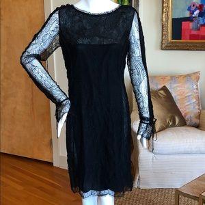 Emilio Pucci Commessa Black Lace Cocktail Dress 46